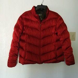 Bright red Eddie Bauer down jacket, sz XL